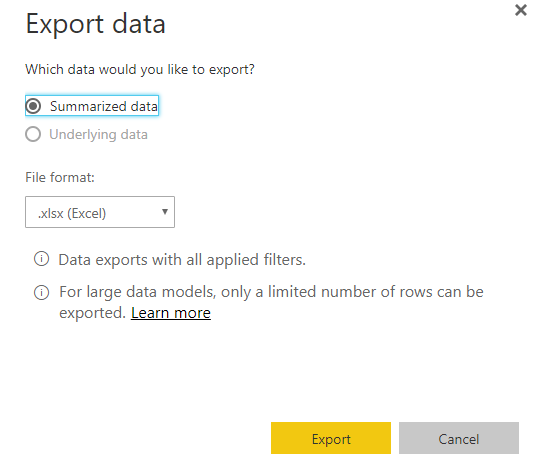 Solved: Export to Excel - Microsoft Power BI Community