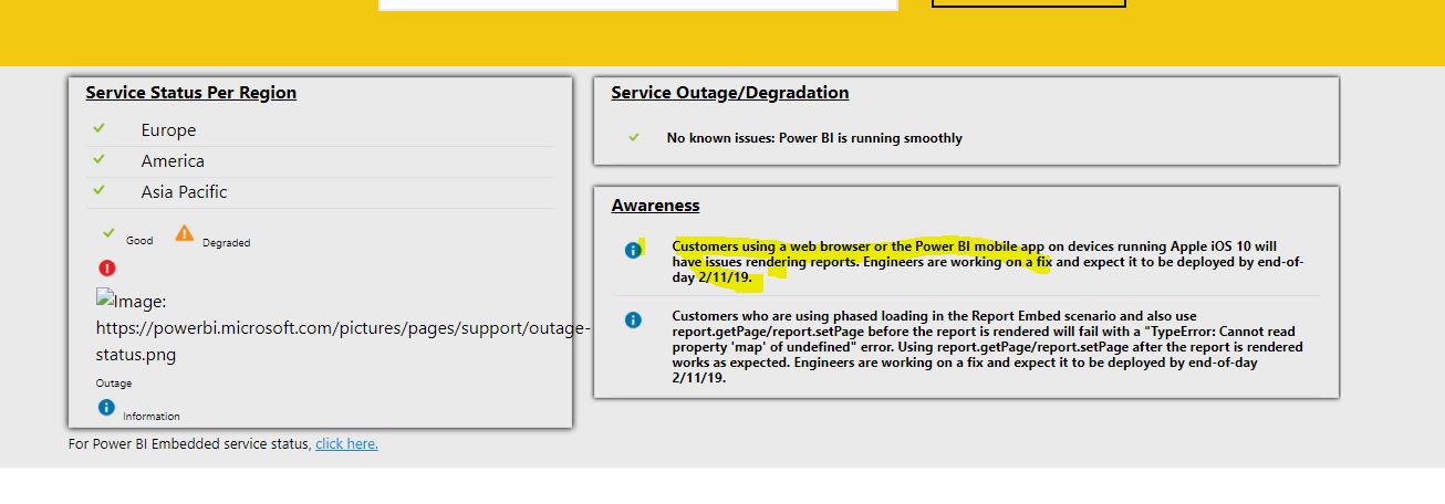 Solved: unable to view reports in ipad - Microsoft Power BI