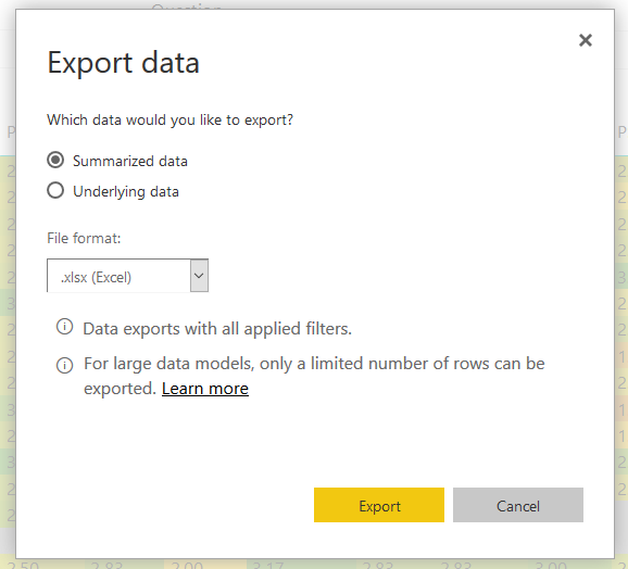 Solved: Export data to Excel from Embed code link