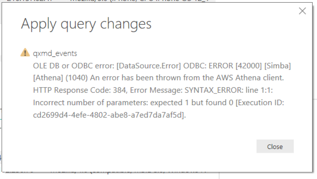 Solved: Unable to filter rows with Athena ODBC data source