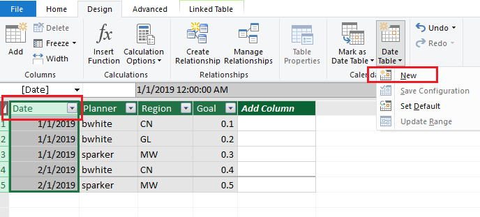 Solved: Poewr pivot new date table greyed out - Microsoft Power BI