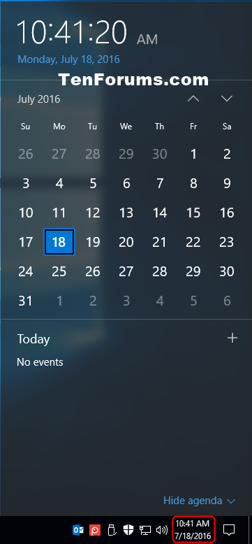 Windows 10 Calendar Widget