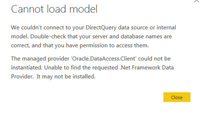 Error: The managed provider 'Oracle DataAccess Cli