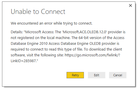 Solved: Power BI does not support 32 bit Access DB