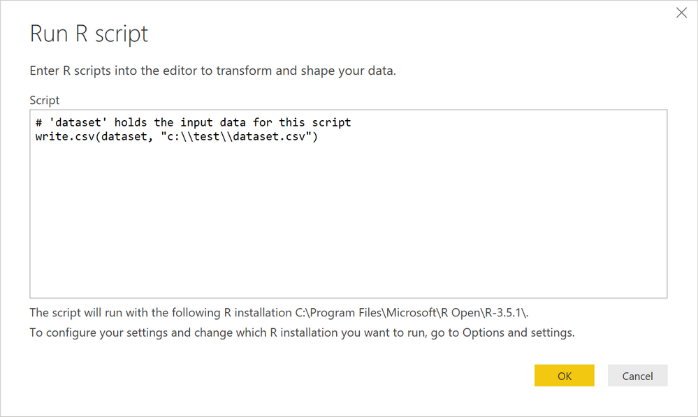 Solved: R script to read query/table - Microsoft Power BI