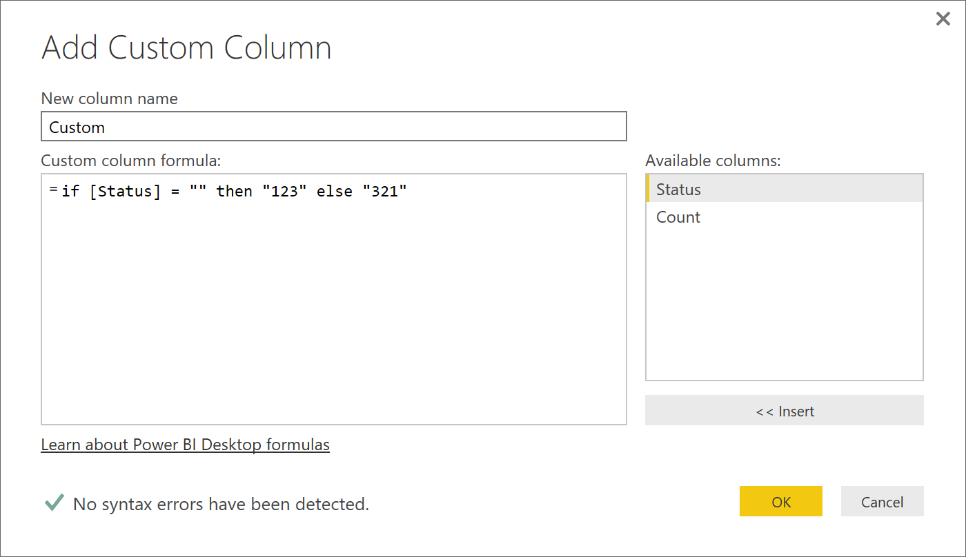 Solved: IF - Formula in Add Custom Column - Microsoft Power