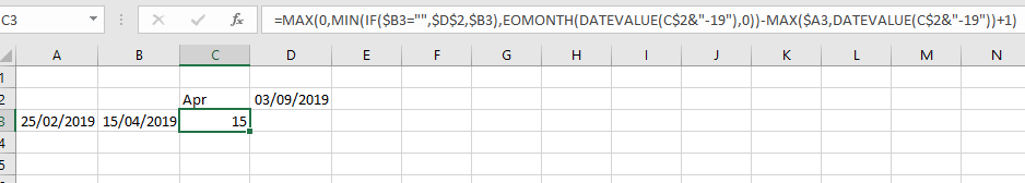 Excel date formula converted to DAX - Microsoft Power BI