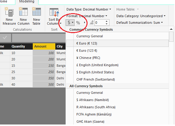 Solved Change The Currency Symbol Microsoft Power Bi Community