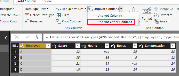 Solved: Pivot table - Microsoft Power BI Community