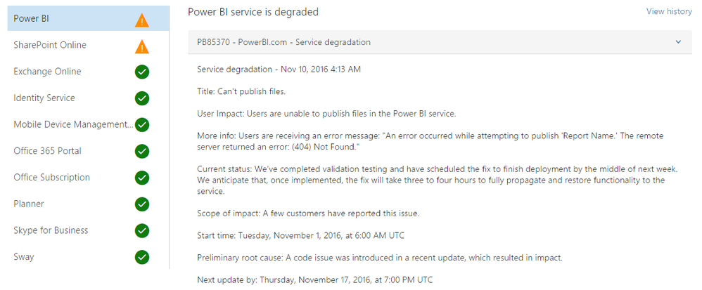Power BI - Service Issue - 17 Nov 2016.png