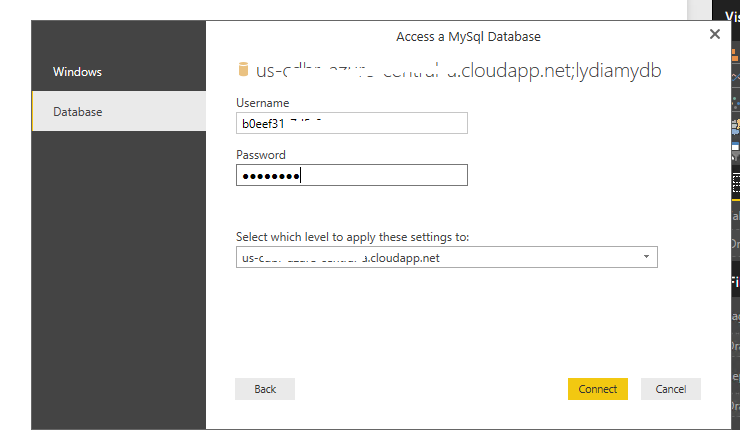 Solved: Connection string for Azure My SQL Database connec