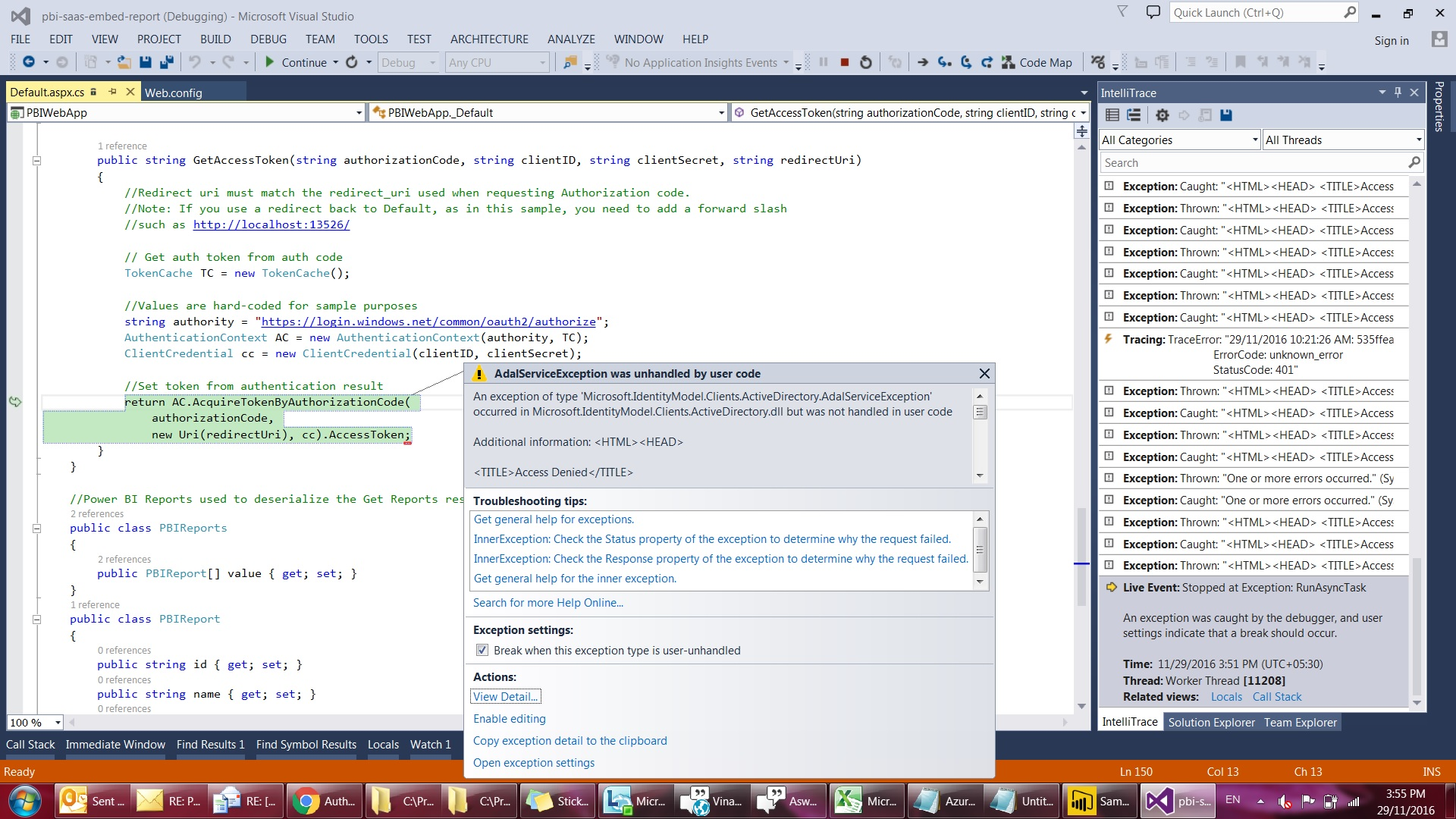 Solved: Credentials are missing in ASP NET-web-app-sample