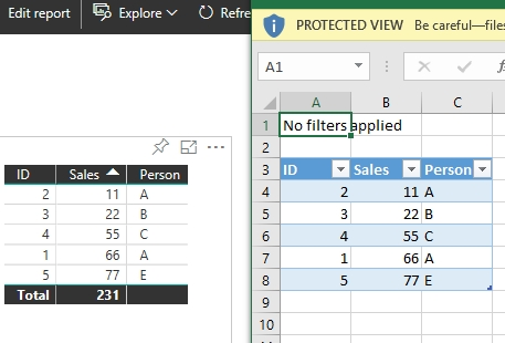 Export a table to Excel in the right column order     - Page