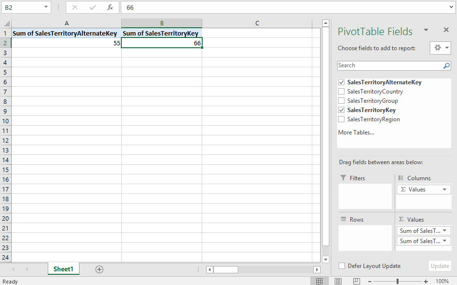 Get Data From Excel Pivot Table - Issue with Sum o