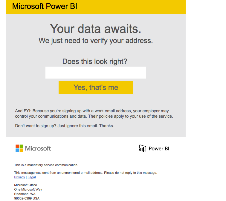 Solved: Cannot Sign Up to Power BI from Azure SQL Dataware