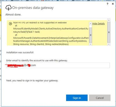PowerBI Gateway Install Error : Non-HTTPS url redi