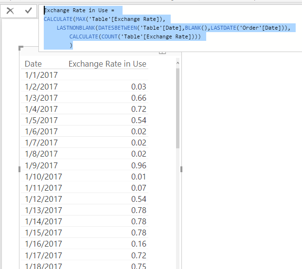 Exchange Rates Dates Missing How To Fill Missi Microsoft Bi Community