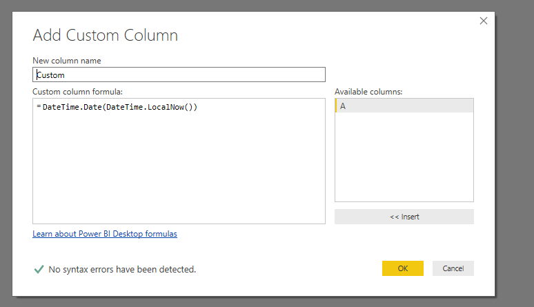 Solved: Query editor date today - Microsoft Power BI Community