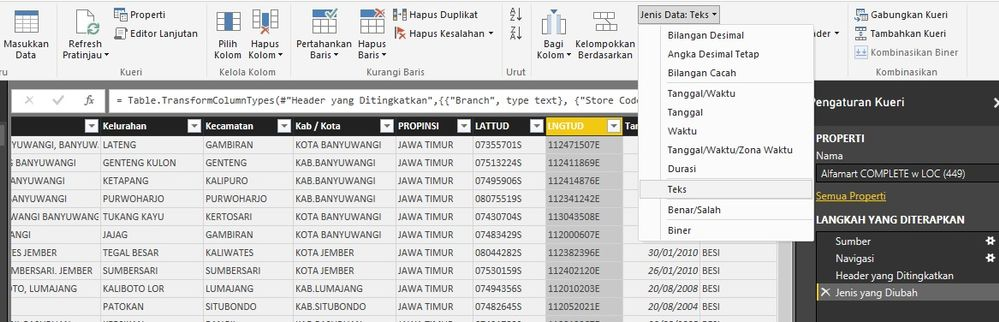 Register column as latitude and longitude - Microsoft Power