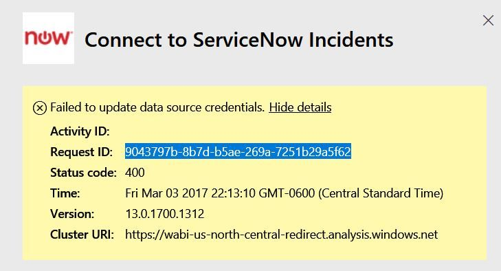 Service now failed to update data source credentia    - Microsoft
