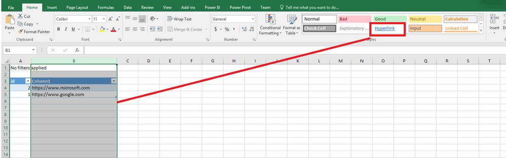 Hyperlink data format when exported to excel - Microsoft