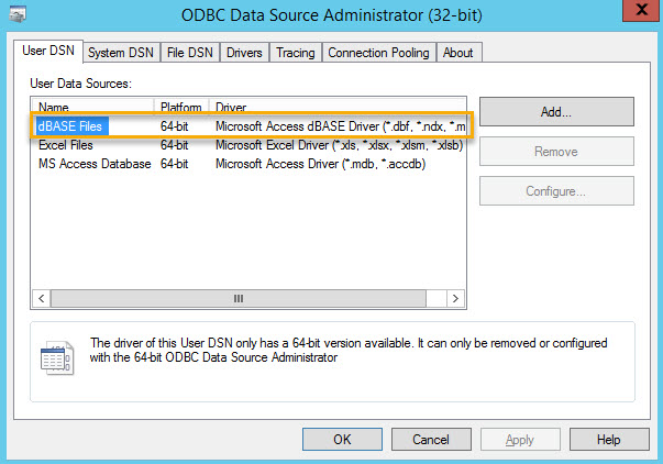 Solved ODBC Connection Error