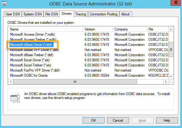 Access for odbc drivers ms