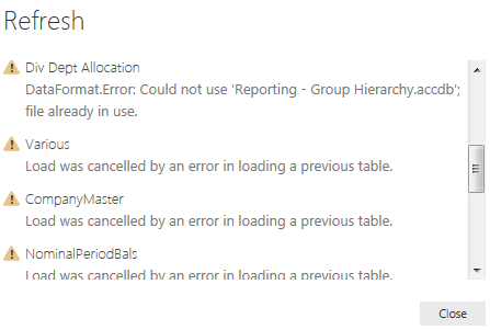 Solved: Error refreshing Access database data tables on a