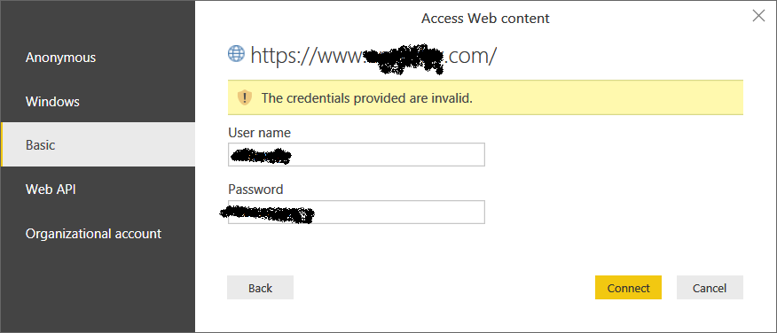 Connect to a website that has credential - Microsoft Power