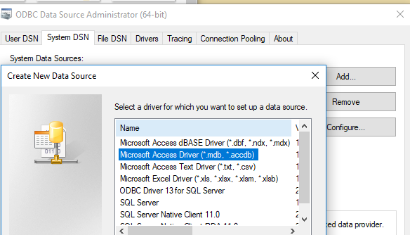 Import data from access database that uses ODBC co    - Microsoft
