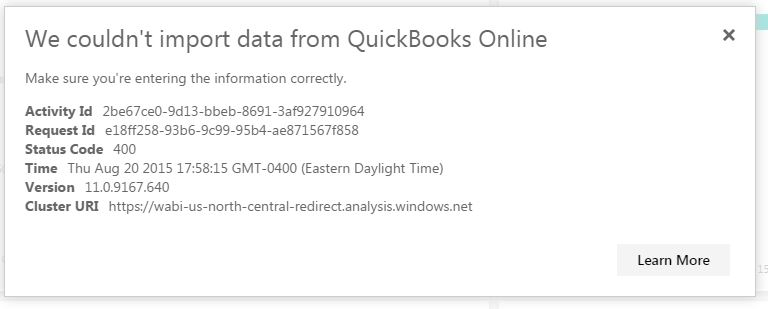 Solved: Failed to load data to dashboard for Quickbooks On