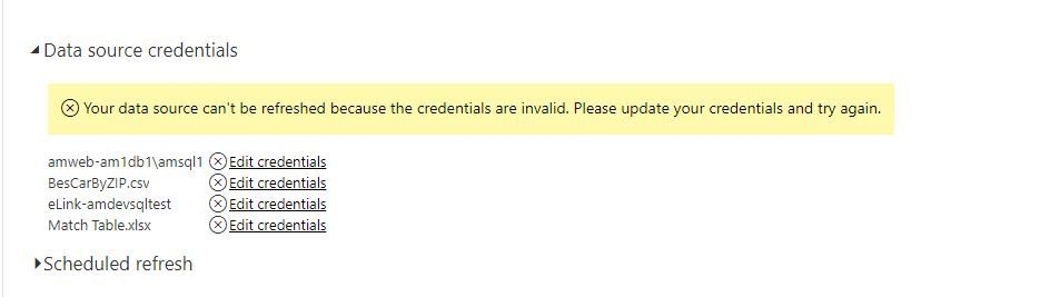 Solved: Invalid data source credentials for schedule refre