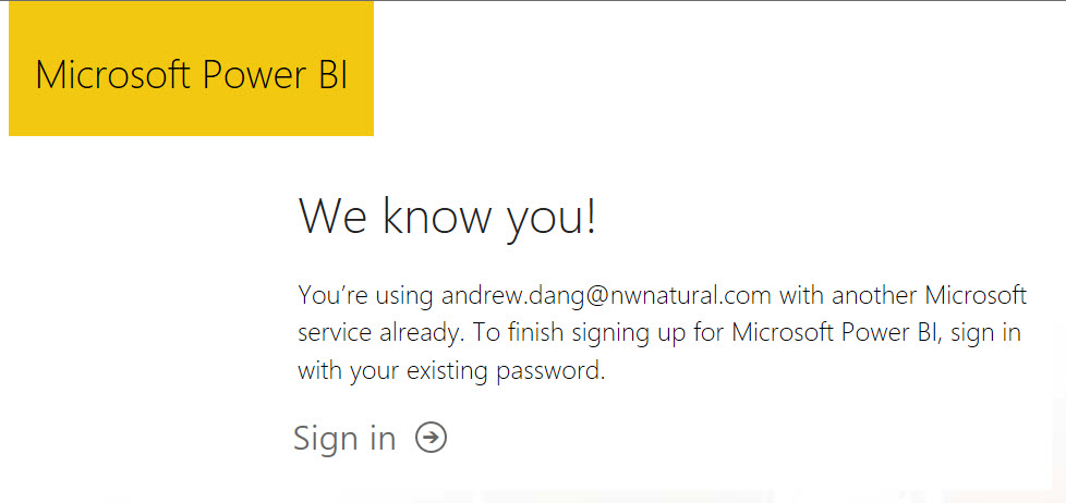 Can not sign up for Power BI with Microsoft person... - Microsoft