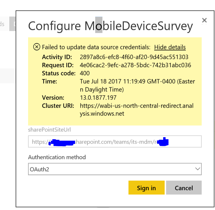 Schedule Refresh issue - connecting to Sharepoint