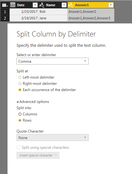 Solved: Split column by comma delimiter in some and no com