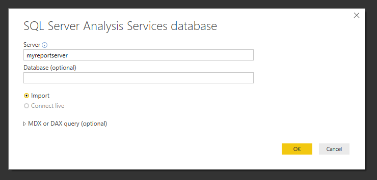 Solved: SSAS live connection grayed out - Microsoft Power BI