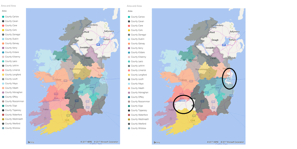 Blank Map Of Ireland Counties.Filled Map Not Showing All Irish Counties Microsoft Power Bi Community