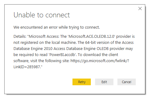 Unable to connect to Access Database - Microsoft Power BI Community