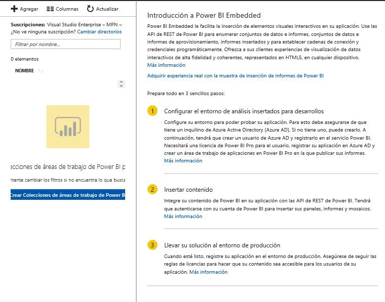 Solved: I can not generate a Power BI Embedded collection