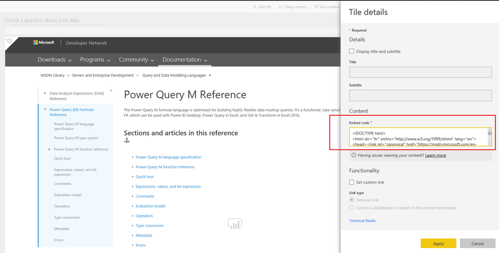 Solved: Embedding a html site in the Power BI Dashbord - Microsoft