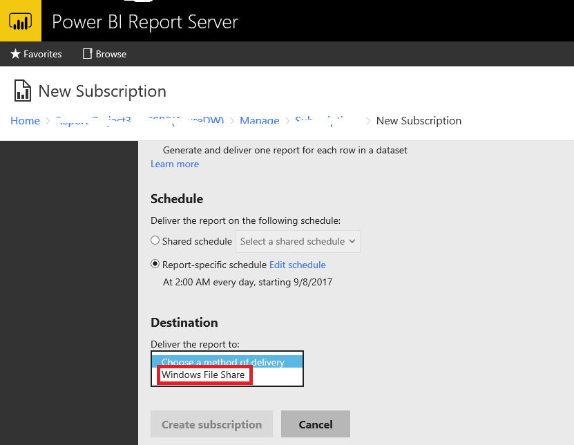 Email subscription on Power BI Reporting Server - Microsoft