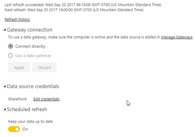 schedule refresh for excel sharepoint files microsoft power bi