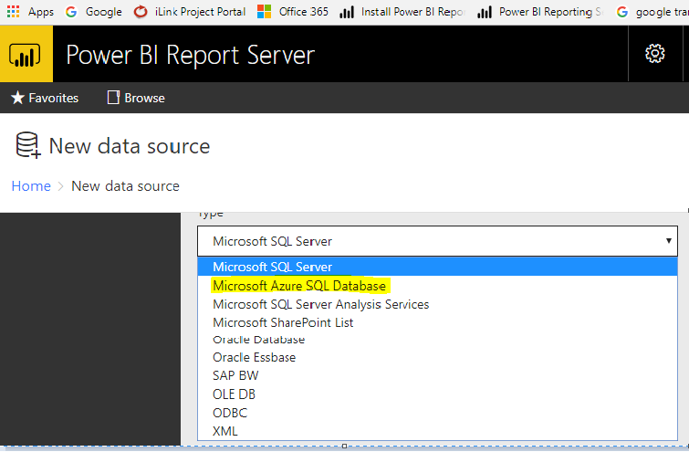 Power BI Reporting Server Data Source for oracle - Microsoft Power