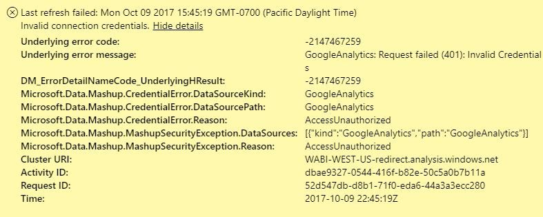 GoogleAnalytics Refresh Error: Request failed (401    - Microsoft