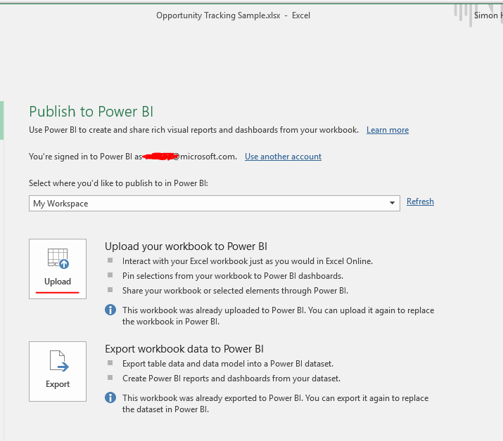 Partial publishing to service from Excel – have da