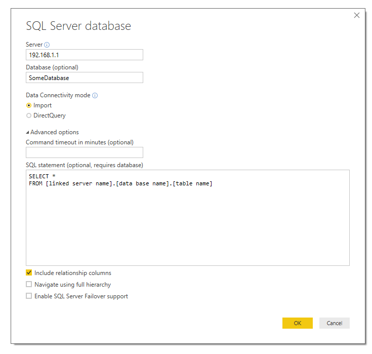 specifying linked server - Microsoft Power BI Community
