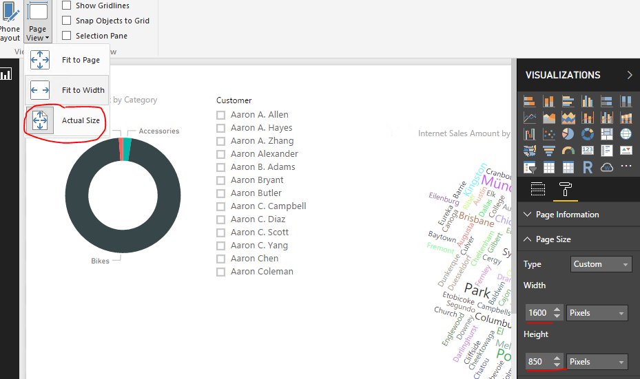 IFrame-embedded report scaled down with large left    - Microsoft