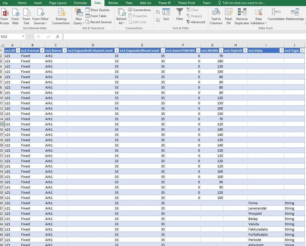 Importing XML gives all data in single column - Microsoft