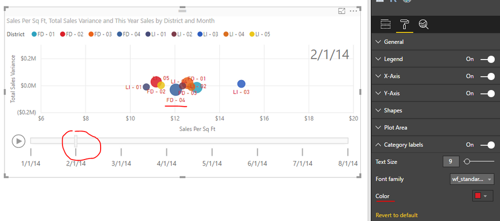 Scatter Chart And Play Axis Data Colors Issue Microsoft Power Bi