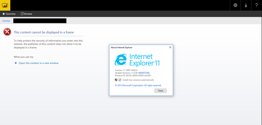 IE and Edge Report error: This content cannot be d